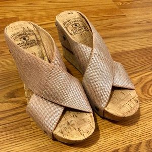 Lucky Brand Champagne Elastic Wedges